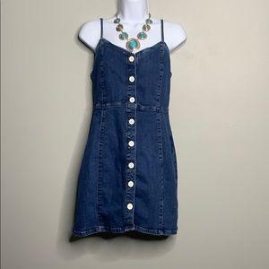 Zara TRF Denim Blue White Button Dress L